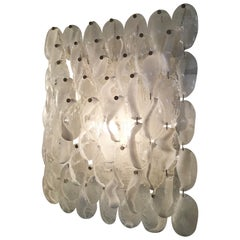 Mazzega Wall Light 1960, Murano Glass Iridescent White Transparent and Metal