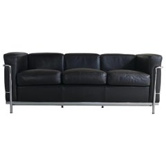 Cassina LC2 Three-Seat Sofa Dark Brown Leather, Le Corbusier, Signed