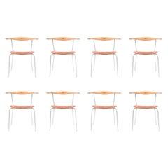 Set of Eight Minimal Chairs by Hans Wegner