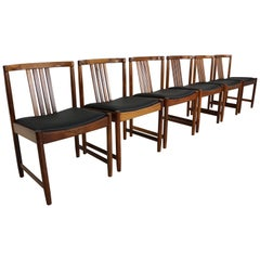 Set of Six Solid Rosewood Dining Chairs, 1960s