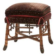Asian Inspired Bamboo Stool, circa 1880