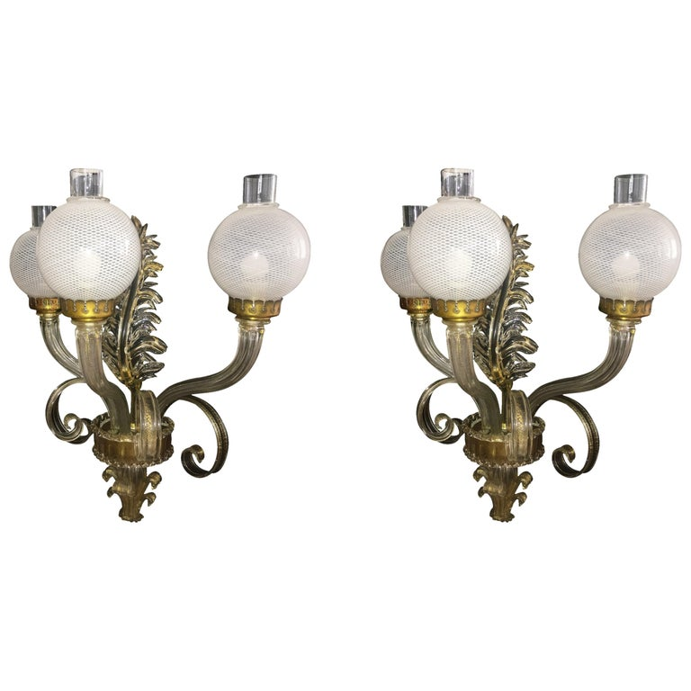 "Pair of Sconces ""Reticello"" by Seguso, Murano, 1950s"