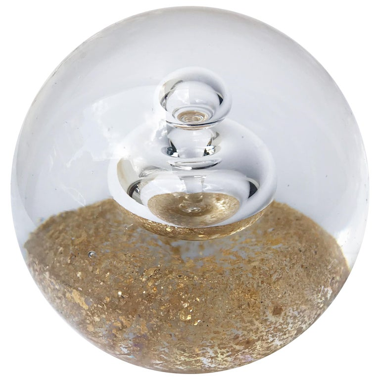 Paperweight In Murano Glass With Inner Bubbles And Gold Dust Sculpture Italy