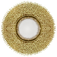 Roundy Mirror with Solid Brass