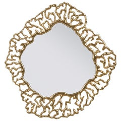 Details Gold Mirror with Solid Mahogany Wood