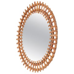 Italian Wall Mirror Bamboo, 1950s