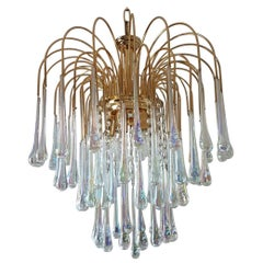 Gilt Brass Chandelier with Murano Glass Teardrops by Paolo Venini for Murano