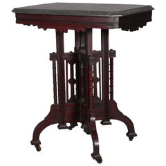 Antique Victorian Eastlake Carved Walnut Marble-Top Side Stand, circa 1890