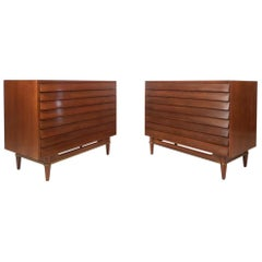 Pair of Midcentury Louvered Walnut Chests by American of Martinsville