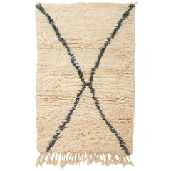 Crème and Grey Beni Ourain Rug