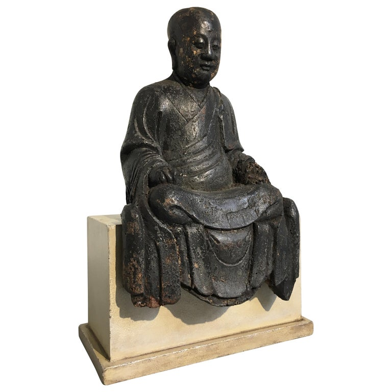 Chinese Ming Dynasty Carved Wood Figure of a Luohan or Arhat, 16th-17th Century For Sale