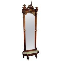 19th Century Renaissance Revival Burled Walnut Pier Mirror