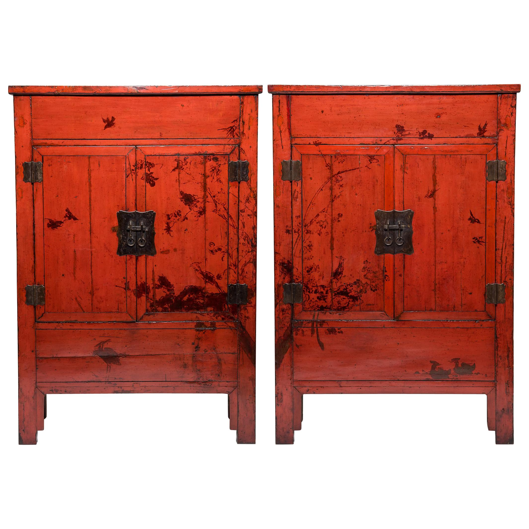 Beau Pair Of 19th Century Chinese Red Lacquer Cabinets With Birds In Flight For  Sale