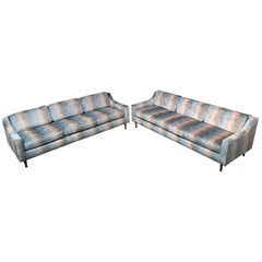 Matching Pair of Fully Restored Mid-Century Modern Vintage Sofas