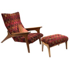 Adrian Pearsall for Craft Associates Mid-Century Modern Lounge Chair and Ottoman