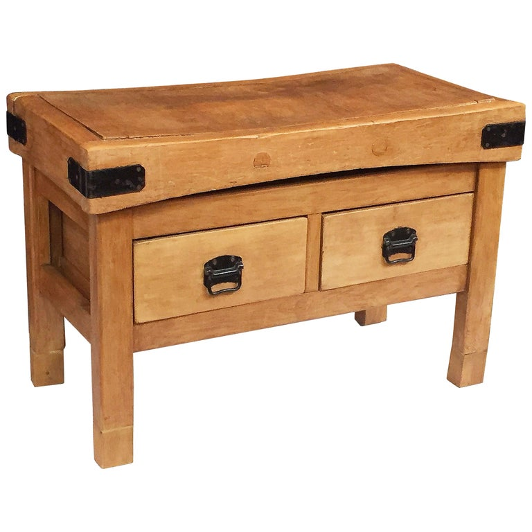 Large French Butcher's Chopping Block Table on Stand