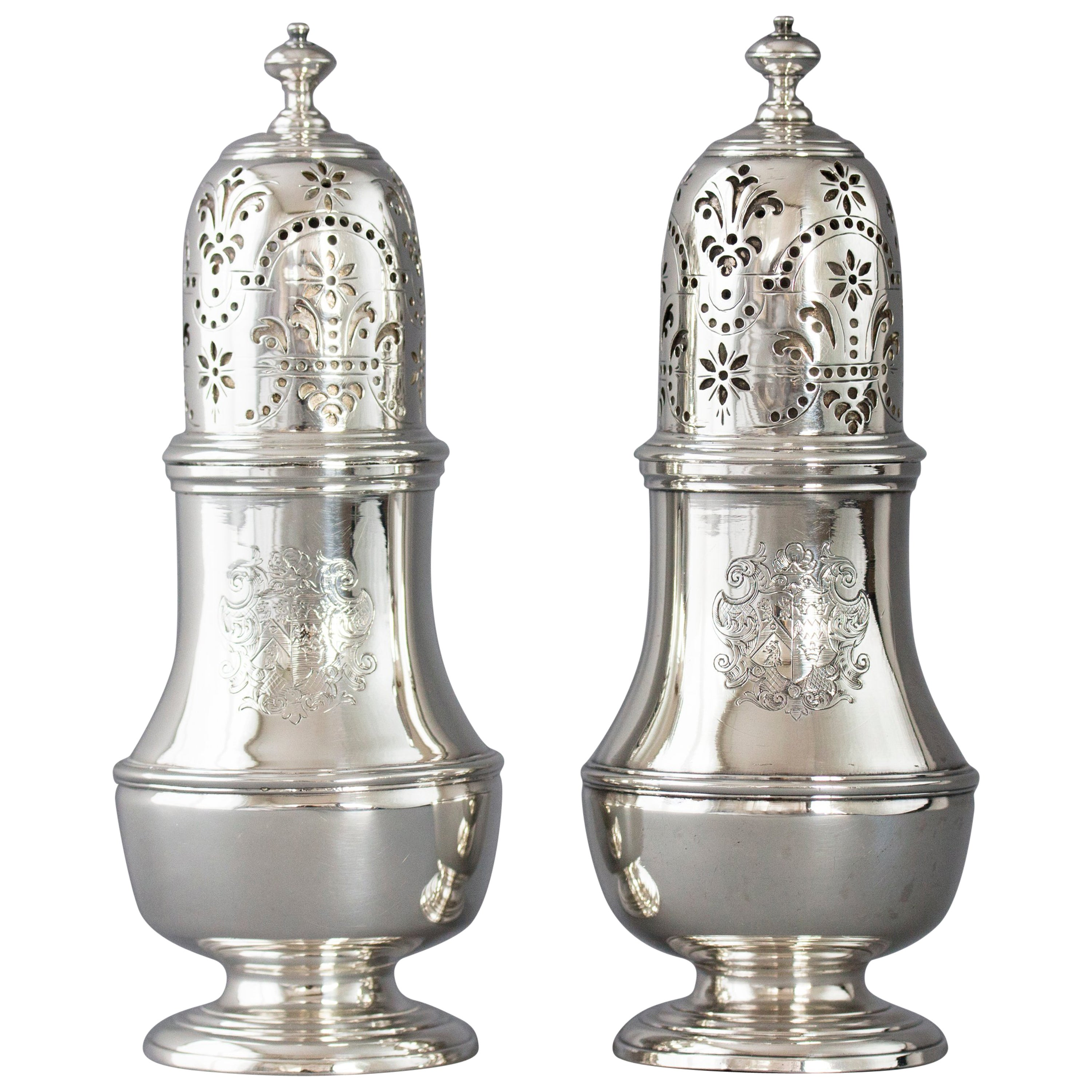 Pair of George I Silver Casters, London, 1723 by Thomas Bamford