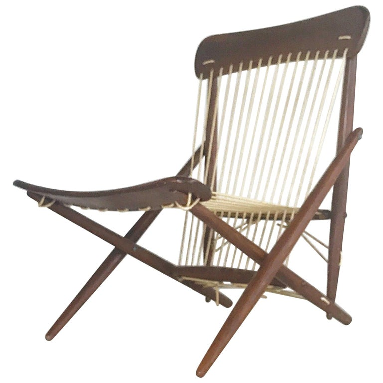 Elegant Rope and Wood Lounge Chair by Maruni Out of Hiroshima, Japan