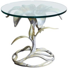 Gold Flower Shaped Side Table with Glass Top
