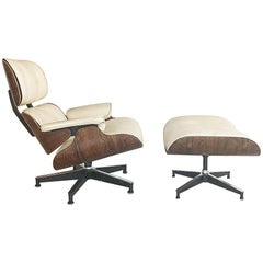 Early 1960s Eames Lounge Chair Custom White Leather by Herman Miller