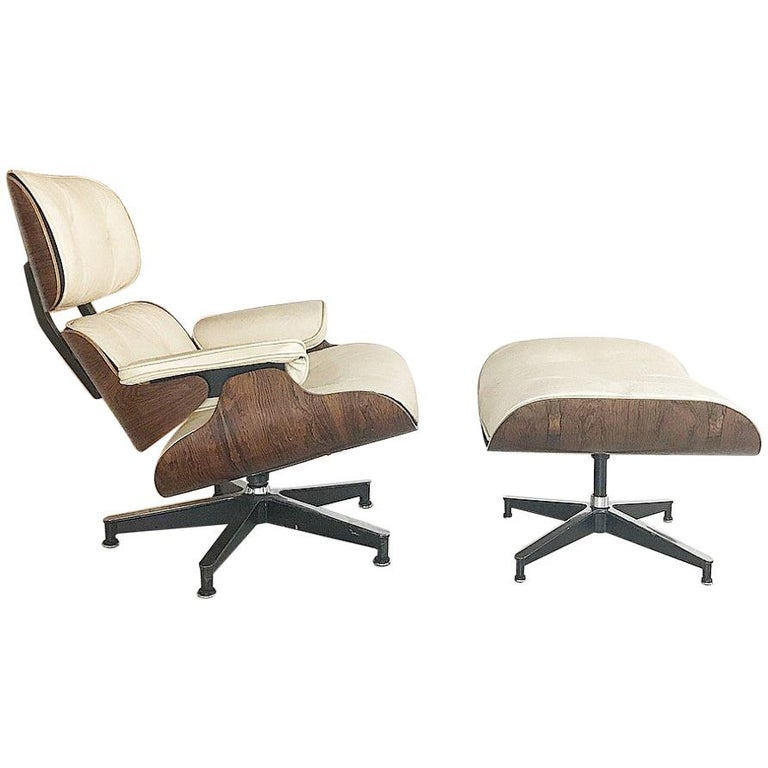 Early 1960s Eames Lounge Chair Custom White Leather By Herman Miller For