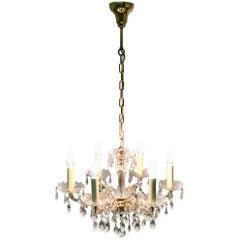 Ernst Palme Six-Light Crystal Chandelier, Brass and Swarovski Crystal