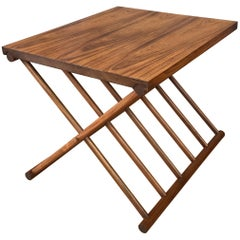 Solid Rosewood Campaign Style Folding Occasional Table