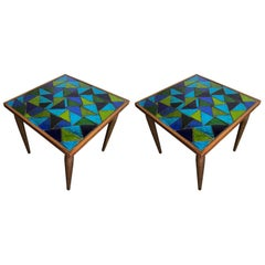 Pair of Mosaic Top Side Tables by Georges Briard