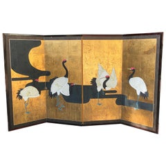 Meiji Era Cranes along a River Japanese Screen Grues Aux Bords D'une Riviere