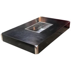 Iconic Willy Rizzo Black Coffee Table for Mario Sabot, Italy 1970s