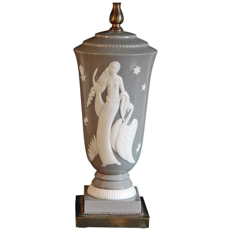 """Leda and the Swan,"" Spectacular Art Deco Porcelain Lamp by De Vegh for Lenox"