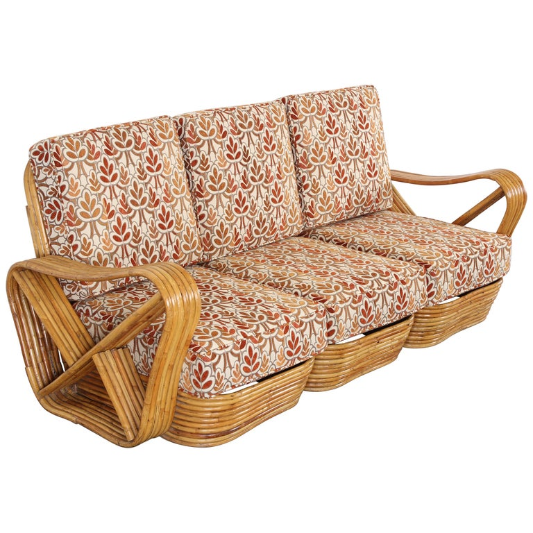Three-Section Paul Frankl Style Bamboo Rattan Sectional Sofa, 1950s