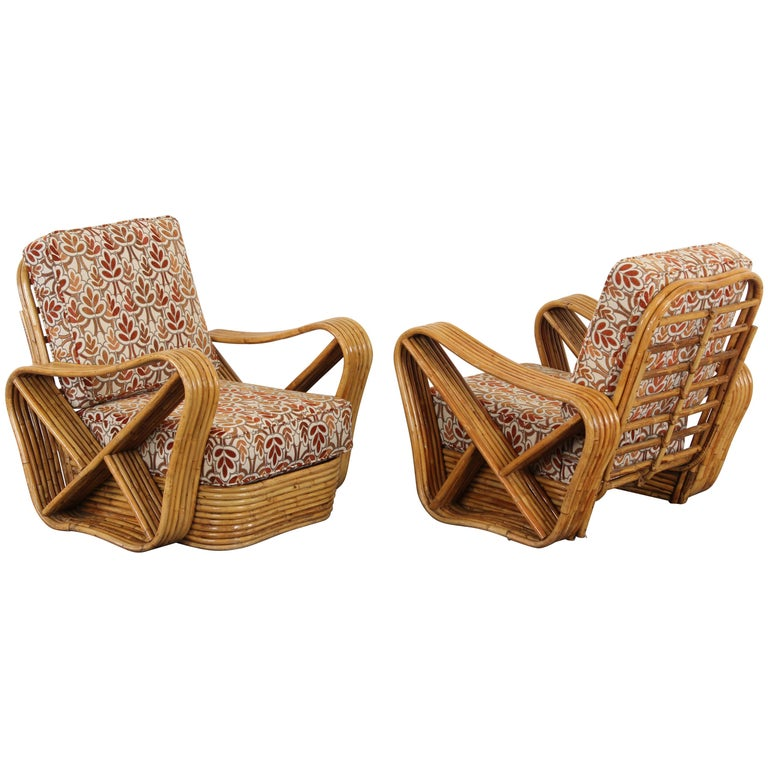 Pair of Paul Frankl Style Bamboo Rattan Lounge Chairs, 1950s