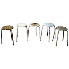 Decorative Industrial Stools Set of Five, 1960s