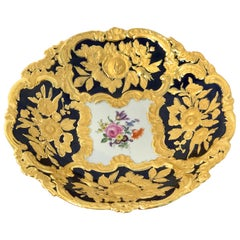 Meissen Cobalt and Gold Encrusted Floral Centrebowl