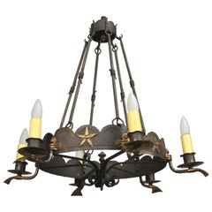 Antique 1920s Chandelier with Star Pattern
