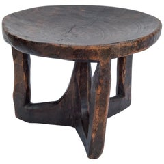 Short Tribal Wooden Stool, from Ethiopia, Mid-Late 20th Century