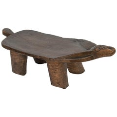 Small Tribal Wooden Stool, Animal Motif, Fulani of Niger, Mid-Late 20th Century