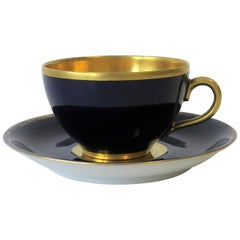 German 24-Karat Gold and Dark Blue Porcelain Espresso Coffee Demitasse Cup