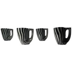 Midcentury Italian Zebra Pattern Ceramic Cups Attributed to Raymor or Bitossi