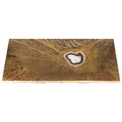 Coffee Table by Georges Mathias in Etched Brass and Agate