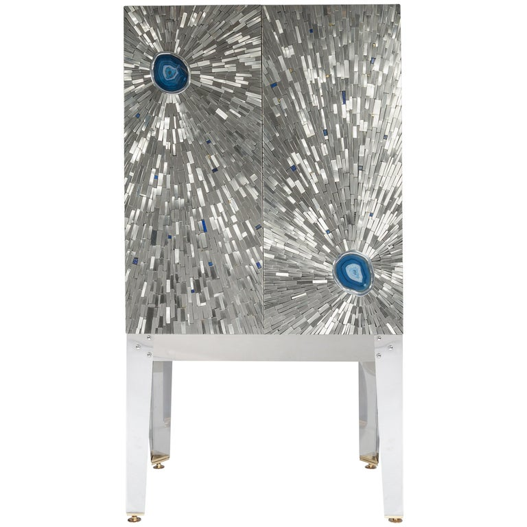 Cabinet by Stan Usel in Mosaic Stainless Steel and Blue Agate For Sale