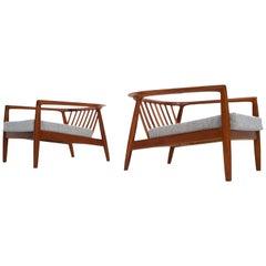 Pair of Rare Vintage Folke Ohlsson Armchairs for Bodafors, Sweden, 1963