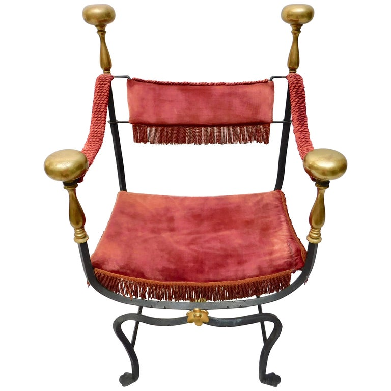 19th Century Spanish Wrought Iron and Brass Savonarola Chair