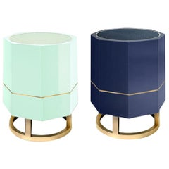 "Octagonal ""Tort"" Side Table in Colorful High Gloss Lacquer Finish"