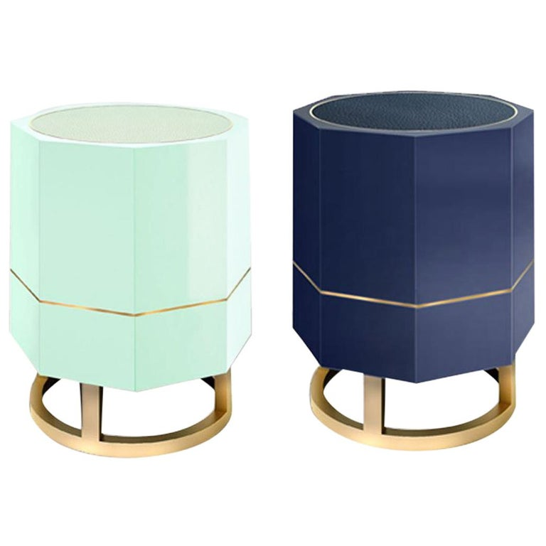 """Octagonal """"Tort"""" Side Table in Colorful High Gloss Lacquer Finish"""
