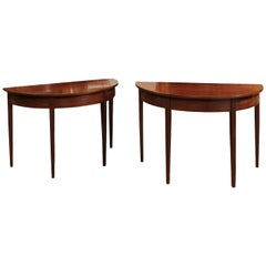 Pair of 19th Century English Demilune Console Tables in Mahogany