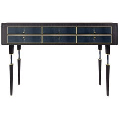 Elegant Shagreen leather and walnut wood Console Table