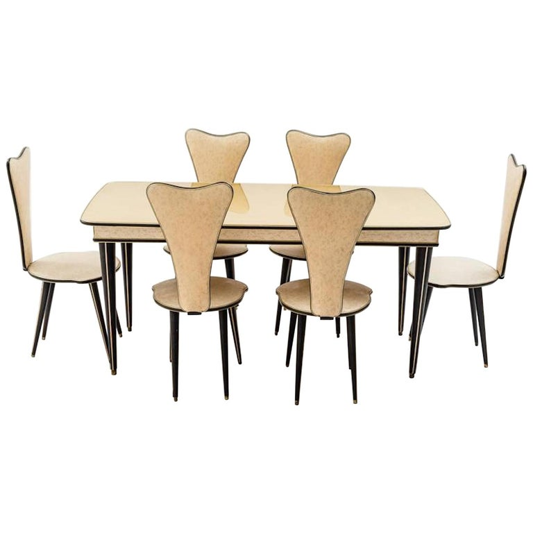 Dining Table and Set of Six Chairs by Umberto Mascagni, 1950s For Sale