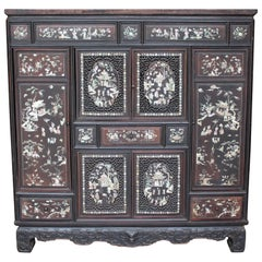 19th Century Chinese Mother-of-Pearl Inlaid and Carved Cabinet